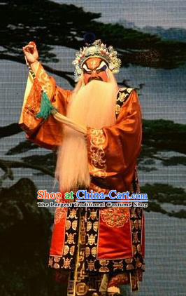 The Lotus Lantern Chinese Shanxi Opera Jing Apparels Costumes and Headpieces Traditional Jin Opera Elderly Male Garment Taoist Clothing