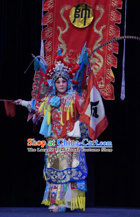 Chinese Jin Opera Tao Ma Tan Garment Costumes and Headdress Mu Guiying Command Traditional Shanxi Opera Blue Apparels Female General Dress with Flags