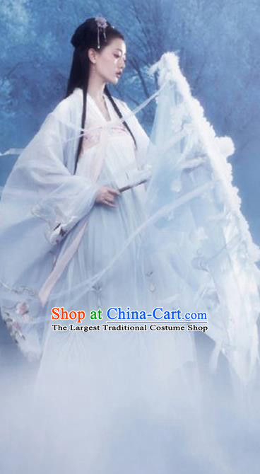 Chinese Drama Ancient Goddess White Dress Traditional Hanfu Apparels Tang Dynasty Royal Princess Historical Costumes and Headpieces