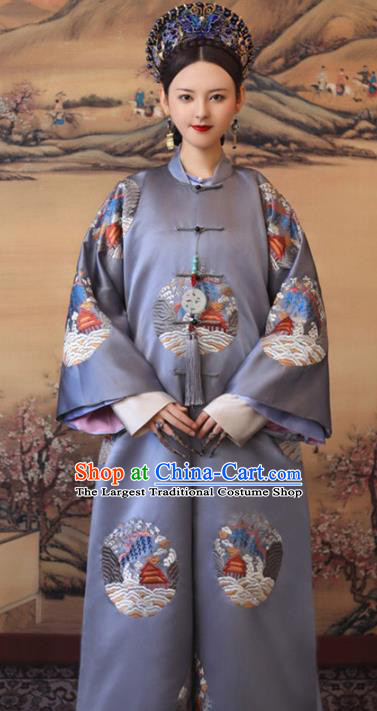 Chinese Historical Drama Ancient Imperial Consort Dress Traditional Hanfu Apparels Qing Dynasty Manchu Noble Female Replica Costumes and Headdress Complete Set