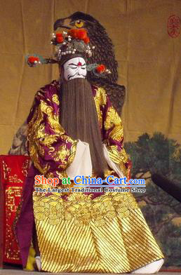 The Romance of Hairpin Chinese Qu Opera Jing Role Apparels Costumes and Headpieces Traditional Henan Opera Elderly Male Garment Prime Minister Wan Si Clothing