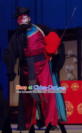 Pao Bian Jing Chinese Qu Opera Martial Male Apparels Costumes and Headpieces Traditional Henan Opera Takefu Garment Robber Bai Shigang Clothing