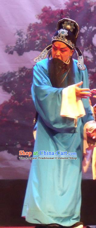 Cao Duan Huan Xiang Chinese Qu Opera Elderly Male Apparels Costumes and Headpieces Traditional Henan Opera Laosheng Garment Old Scholar Clothing