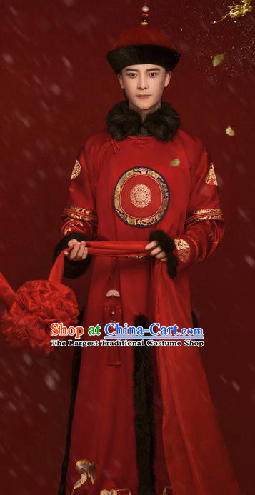 Chinese Traditional Wedding Hanfu Apparels Ancient Qing Dynasty Noble Prince Historical Costumes and Hat for Men