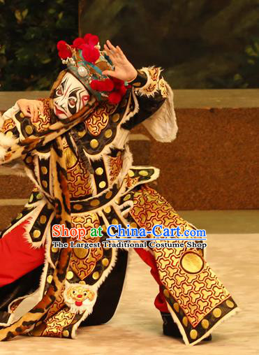 General Ma Chao Chinese Guangdong Opera Painted Role Apparels Costumes and Headpieces Traditional Cantonese Opera Wusheng Garment Martial Male Clothing