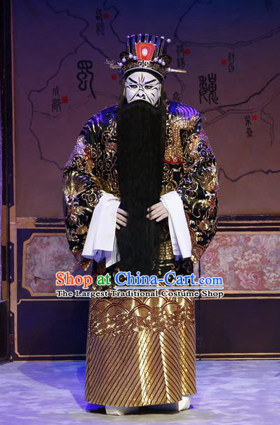 General Ma Chao Chinese Guangdong Opera Prime Minister Cao Cao Apparels Costumes and Headpieces Traditional Cantonese Opera Elderly Male Garment Laosheng Clothing