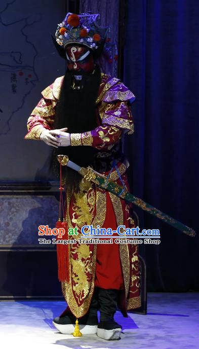 General Ma Chao Chinese Guangdong Opera Wusheng Apparels Costumes and Headpieces Traditional Cantonese Opera Jing Role Garment Martial Male Clothing