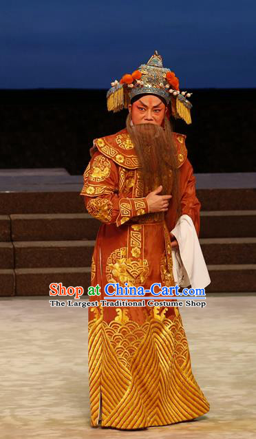 General Ma Chao Chinese Guangdong Opera Shogun Ma Teng Apparels Costumes and Headpieces Traditional Cantonese Opera Elderly Male Garment Marshal Clothing