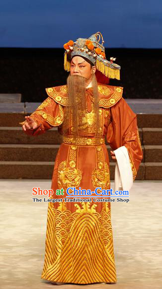General Ma Chao Chinese Guangdong Opera Shogun Ma Tang Apparels Costumes and Headpieces Traditional Cantonese Opera Elderly Male Garment Marshal Clothing