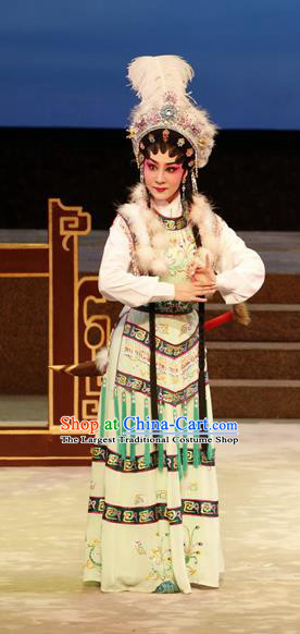 Chinese Cantonese Opera Diva Jiang Yunxia Garment General Ma Chao Costumes and Headdress Traditional Guangdong Opera Hua Tan Apparels Young Female Dress