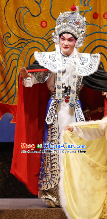 General Ma Chao Chinese Guangdong Opera Wusheng Apparels Costumes and Headpieces Traditional Cantonese Opera Takefu Garment Martial Male Clothing