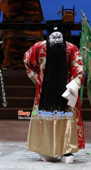 General Ma Chao Chinese Guangdong Opera Jing Apparels Costumes and Headpieces Traditional Cantonese Opera Laosheng Garment Prime Minister Cao Cao Clothing