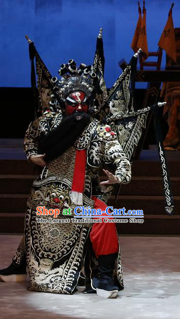 General Ma Chao Chinese Guangdong Opera Black Kao Apparels Costumes and Headpieces Traditional Cantonese Opera Shogun Garment Armor Clothing with Flags