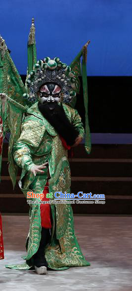 General Ma Chao Chinese Guangdong Opera Kao Apparels Costumes and Headpieces Traditional Cantonese Opera Shogun Garment Green Armor Clothing with Flags