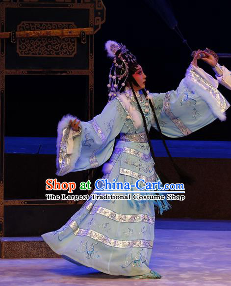 Chinese Cantonese Opera Female Swordsman Jiang Yunxia Garment General Ma Chao Costumes and Headdress Traditional Guangdong Opera Hua Tan Apparels Young Woman Dress