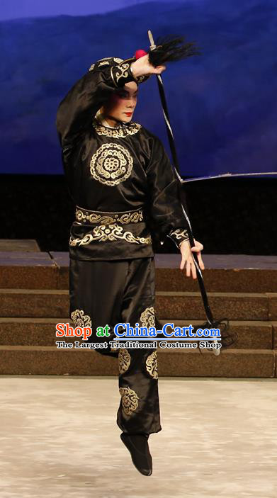 General Ma Chao Chinese Guangdong Opera Wusheng Apparels Costumes and Headpieces Traditional Cantonese Opera Martial Male Garment Soldier Black Clothing