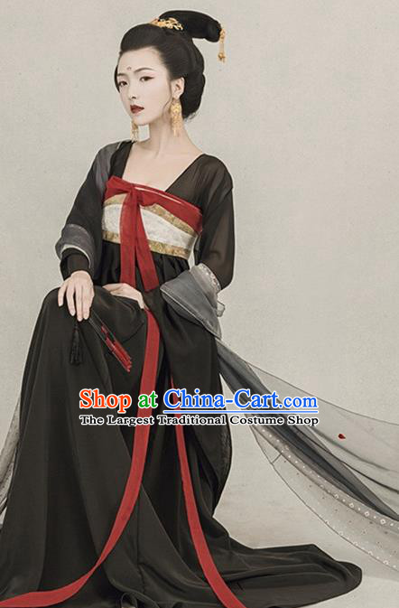 Chinese Traditional Drama Ancient Goddess Black Hanfu Dress Apparels Tang Dynasty Imperial Consort Historical Costumes and Headpieces Complete Set for Women