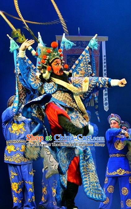 Yuan Yang Sword Chinese Guangdong Opera Shogun Kao Apparels Costumes and Headpieces Traditional Cantonese Opera General Garment Blue Armor Clothing with Flags