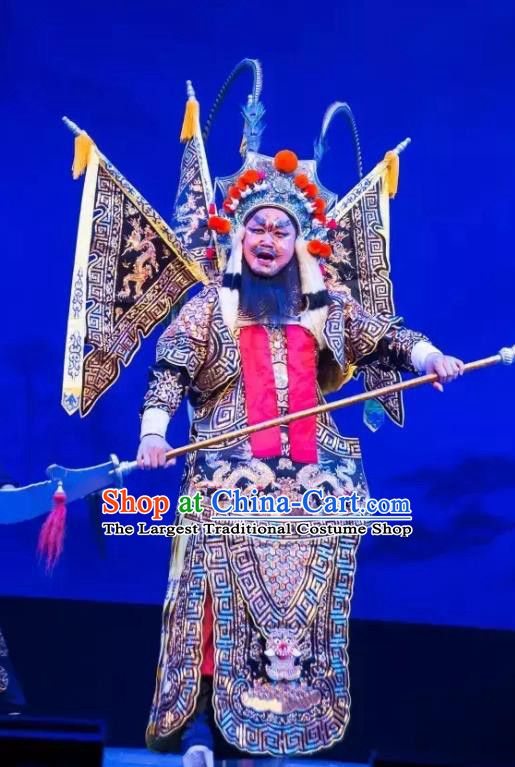 Yuan Yang Sword Chinese Guangdong Opera General Apparels Costumes and Headpieces Traditional Cantonese Opera Shogun Garment Kao Clothing with Flags
