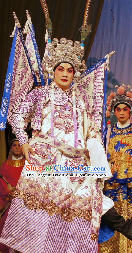 Diao Man Gong Zhu Gan Fu Ma Chinese Guangdong Opera General Meng Feixiong Apparels Costumes and Headpieces Traditional Cantonese Opera Commander Garment Kao Clothing