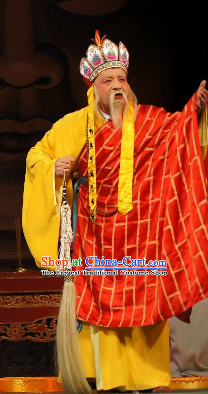 Diao Man Gong Zhu Gan Fu Ma Chinese Guangdong Opera Chan Master Liao Kong Apparels Costumes and Headpieces Traditional Cantonese Opera Elderly Male Garment Monk Cassock Clothing
