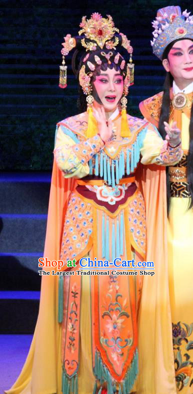 Chinese Cantonese Opera Martial Female Garment Legend of Er Lang Costumes and Headdress Traditional Guangdong Opera Swordswoman Apparels Mi Er Dress