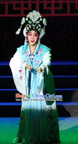 Chinese Cantonese Opera Young Female Garment Legend of Er Lang Costumes and Headdress Traditional Guangdong Opera Diva Mi Er Apparels Hua Tan Blue Dress