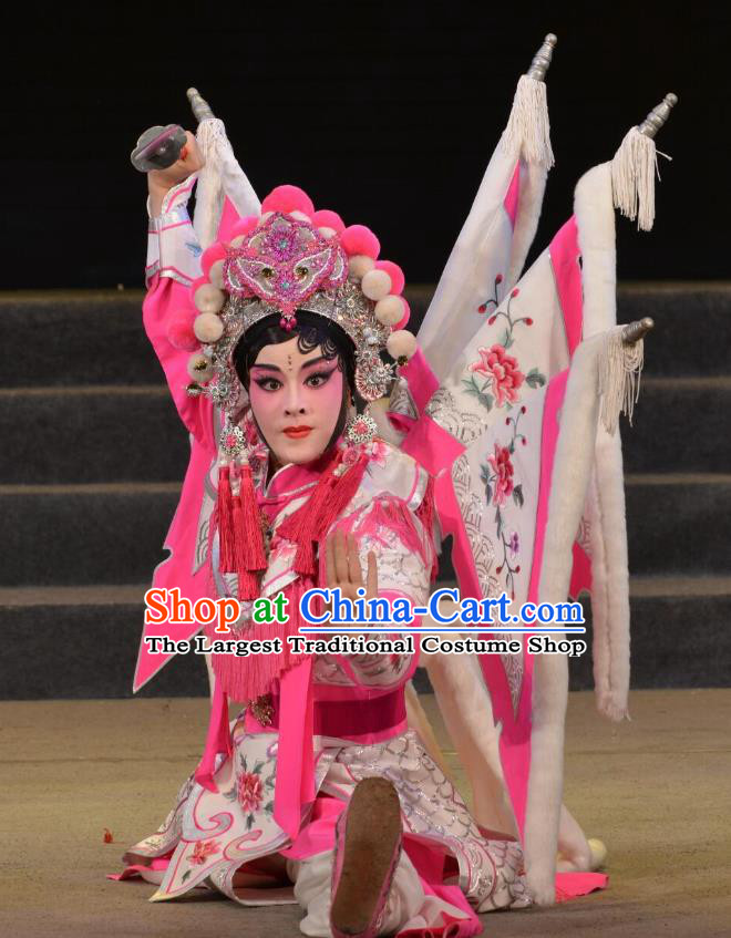 Chinese Cantonese Opera Tao Ma Tan Garment Legend of Er Lang Costumes and Headdress Traditional Guangdong Opera Mi Er Apparels Female General Dress with Flags