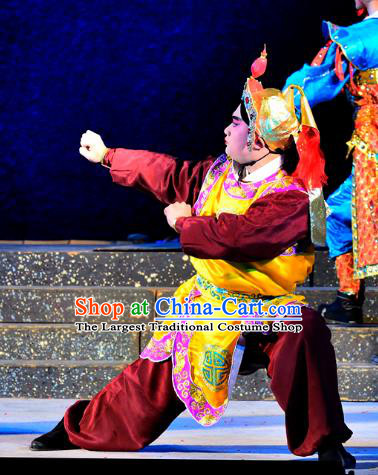 Chinese Guangdong Opera Wusheng Apparels Costumes and Headwear Traditional Cantonese Opera Soldier Garment Martial Male Clothing