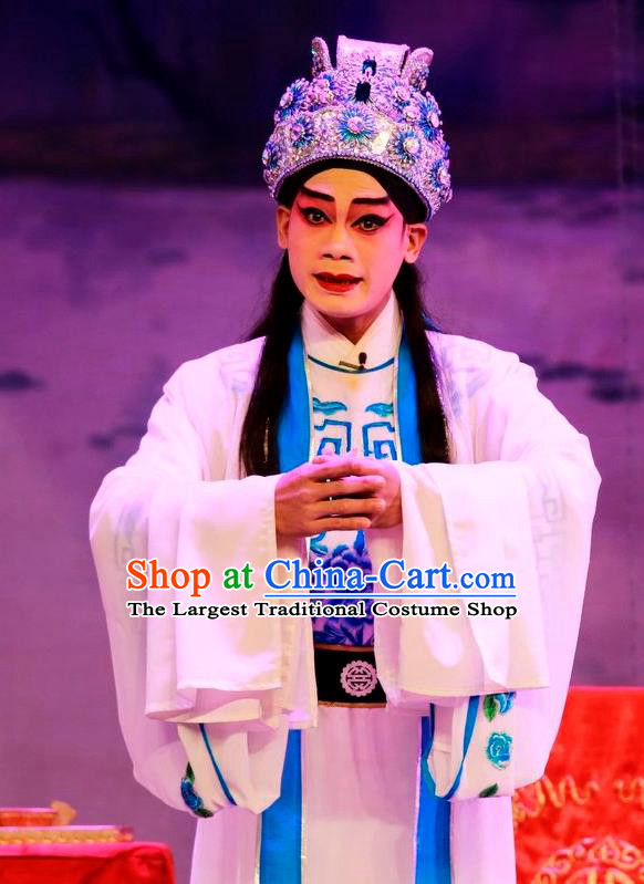 Chinese Guangdong Opera Prince Apparels Costumes and Headwear Traditional Cantonese Opera Young Male Garment Xiaosheng Clothing