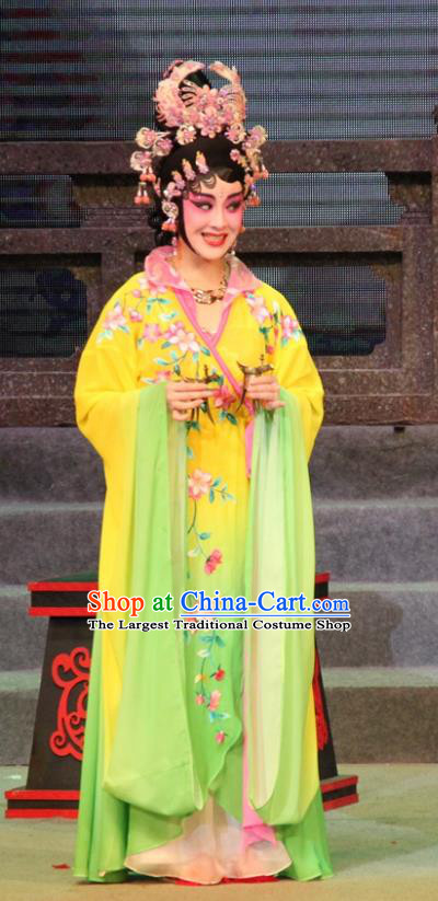 Chinese Cantonese Opera Imperial Consort Da Ji Garment Legend of Er Lang Costumes and Headdress Traditional Guangdong Opera Fairy Apparels Hua Tan Dress