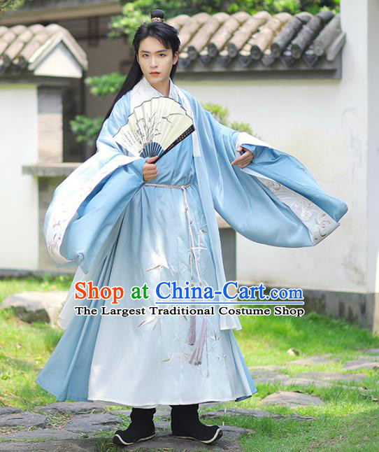 Chinese Traditional Ming Dynasty Noble Childe Historical Costumes Ancient Swordsman Hanfu Apparels for Men