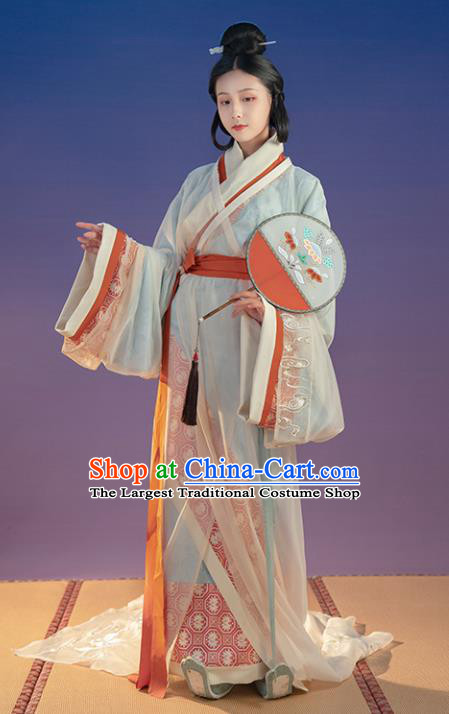 Chinese Traditional Han Dynasty Historical Costumes Ancient Court Female Hanfu Dress Apparels and Headpieces Complete Set