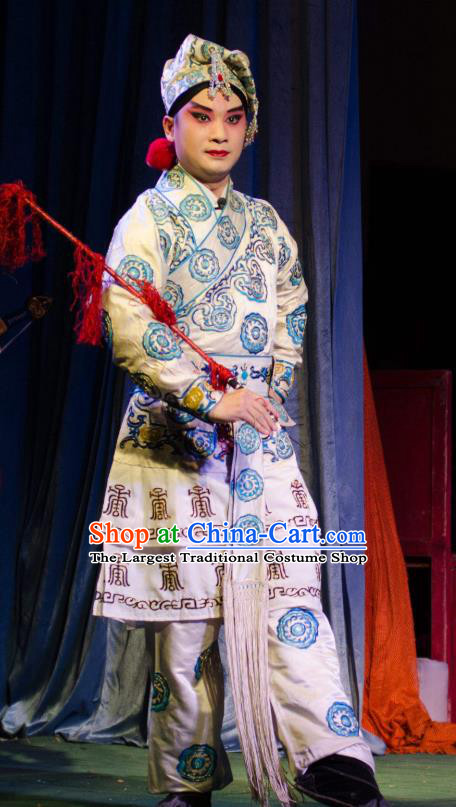Chinese Guangdong Opera Takefu Apparels Costumes and Headwear Traditional Cantonese Opera Wusheng Garment Swordsman Clothing