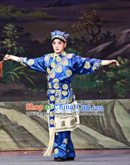Chinese Guangdong Opera Wusheng Apparels Costumes and Headwear Traditional Cantonese Opera Martial Male Garment Blue Clothing