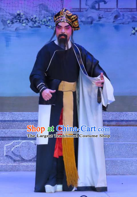 Chinese Guangdong Opera Swordsman Apparels Costumes and Headwear Traditional Cantonese Opera Wusheng Garment Martial Male Clothing