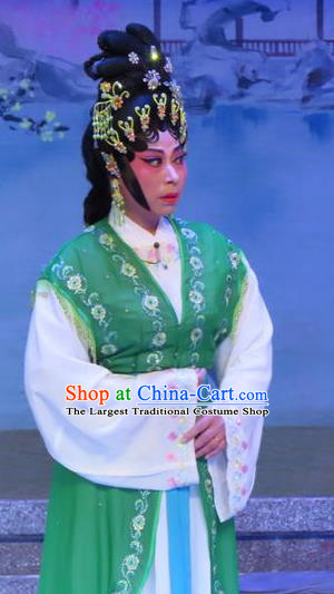 Chinese Cantonese Opera Elderly Female Garment Costumes and Headdress Traditional Guangdong Opera Dame Apparels Green Dress