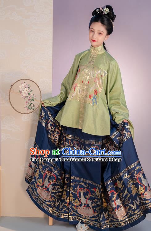 Chinese Traditional Ming Dynasty Noble Lady Apparels Ancient Patrician Female Hanfu Dress Historical Costumes Embroidered Blouse and Skirt Complete Set