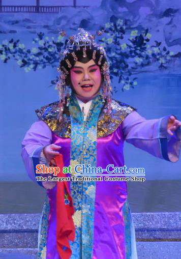 Chinese Cantonese Opera Procuress Garment Costumes and Headdress Traditional Guangdong Opera Dame Apparels Elderly Female Dress