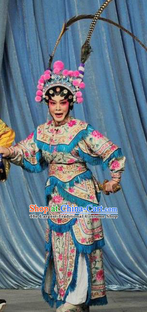 Chinese Cantonese Opera Martial Female Garment Fan Lihua Return Tang Costumes and Headdress Traditional Guangdong Opera Tao Ma Tan Apparels Armor Dress