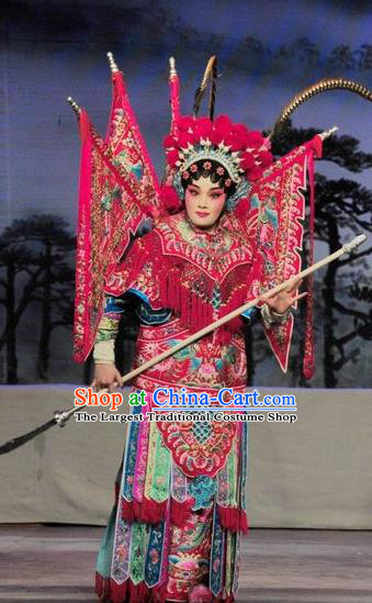 Chinese Cantonese Opera Female General Armor Garment Fan Lihua Return Tang Costumes and Headdress Traditional Guangdong Opera Apparels Tao Ma Tan Dress with Flags