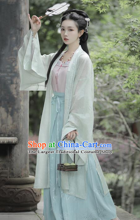 Chinese Traditional Song Dynasty Young Lady Hanfu Dress Apparels Ancient Civilian Girl Historical Costumes BeiZi Strapless and Skirt Full Set