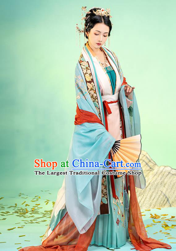 Asian Chinese Traditional Song Dynasty Royal Princess Hanfu Apparels Ancient Imperial Consort Historical Costumes Embroidered BeiZi Blouse and Skirt Complete Set for Women