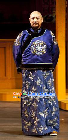 Chinese Traditional Qing Dynasty Merchant Apparels Costumes Historical Drama Wang Fu Jing Ancient Shopkeeper Garment Elderly Male Clothing and Headwear