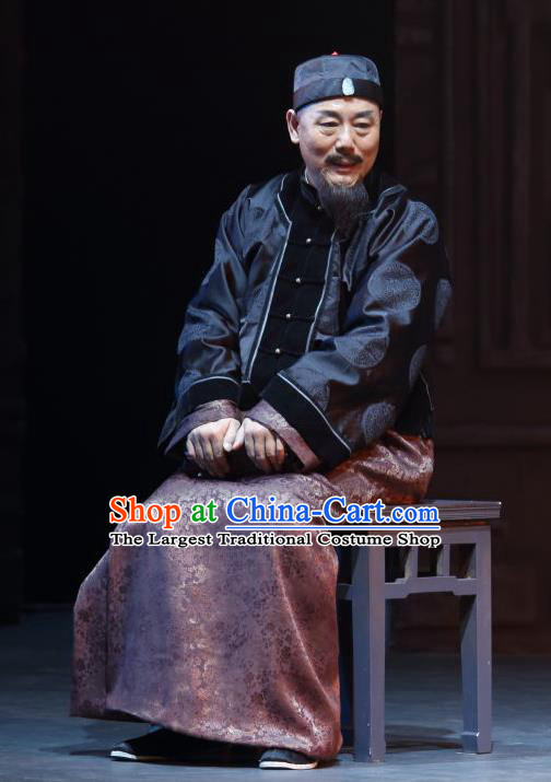 Chinese Traditional Qing Dynasty Elderly Male Apparels Costumes Historical Drama Wang Fu Jing Ancient Shopkeeper Garment Merchant Tong Shouchun Clothing and Headwear