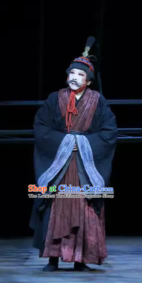 Chinese Traditional Stage Performance Clown Apparels Costumes Historical Drama The Prince of Lanling Ancient Actor Garment Clothing and Headwear