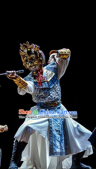 Chinese Traditional Stage Performance Warrior Apparels Costumes Historical Drama The Prince of Lanling Ancient Swordsman Garment Soldier Armor Clothing and Headwear