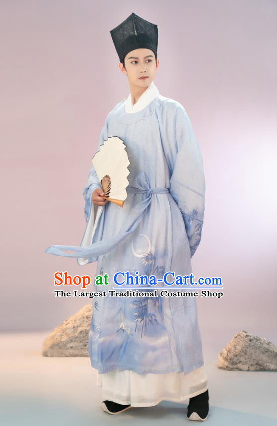 Traditional Chinese Song Dynasty Scholar Hanfu Apparels Ancient Young Male Historical Costumes Embroidered Blue Long Robe