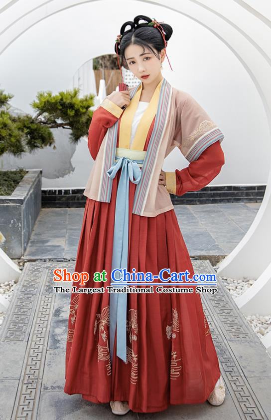 Traditional Chinese Song Dynasty Young Lady Hanfu Apparels Ancient Village Girl Historical Costumes Beizi Blouse and Skirt Complete Set
