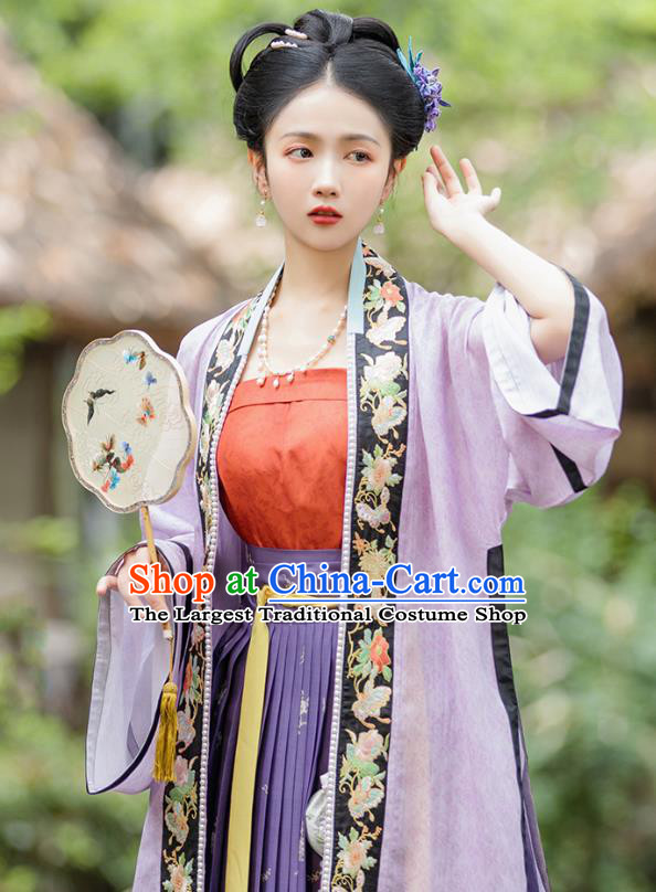 Traditional Chinese Song Dynasty Patrician Girl Hanfu Apparels Ancient Nobility Woman Historical Costumes Embroidered BeiZi Tube Top and Overlapping Skirt Full Set